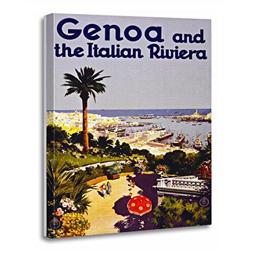 "TORASS Canvas Wall Art Print Genova Genoa and Italian Riviera Italy Vintage Artwork for Home Decor 12"" x 16"""