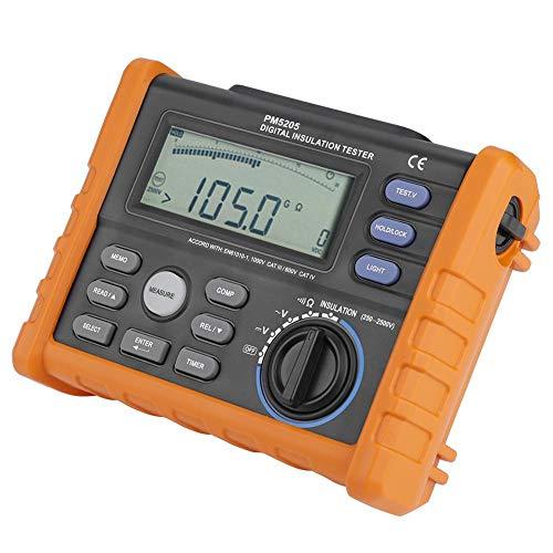 Probador de multímetro, PEAKMETER MS5205 Resistencia de aislamiento digital Probador de multímetro Megger 0.01MΩ-100GΩ 2500V, Probador de multímetro digital, Ohmímetro