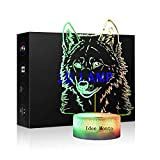 Wolf Night Light for Kids 3D Lamps Animal Wolfs Head Shape LED Desk Table Nightlight 7 Color Touch Lamp Children Family Holiday Gift Home Office Children Room Theme Decor (Wolf Head)