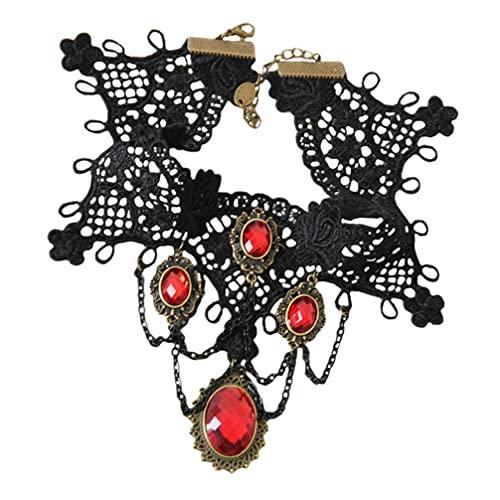 Lurrose Vintage Princesa Lolita Encaje Victoriano Collar Pulsera Edwardian Vampiro Gótico Gargantilla Colgante Punk Halloween Disfraces Joyería para Cosplay Fiesta Rojo