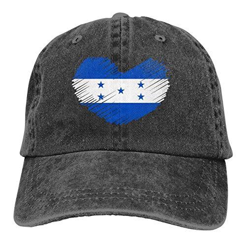 lymknumb Gorra de béisbol para Hombres, Mujeres, Bandera de Honduras en Forma de corazón para Hombre Algodón Ajustable Jeans Cap Hat