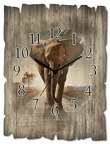 Artland Wanduhr ohne Tickgeräusche aus Holz Quarzuhr 30x40 cm Rechteckig Lautlos Afrika Elefant Tiere Safari Natur Kolonialstil Originell T9QO