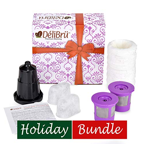 Delibru Universal Reusable K Cups Bundle Pack Gift Box Set with Adapter, Paper and Charcoal Filter. Reusable k cups for mini keurig Keurig Duo K-Duo kduo UNIVERSAL FIT