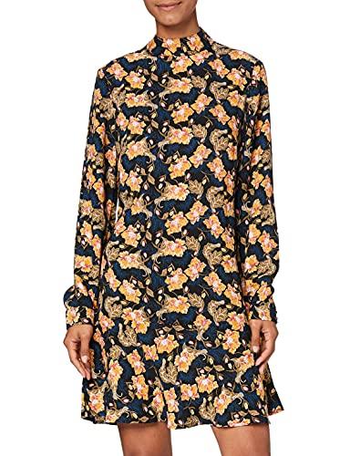 Marchio Amazon - find. Vestito Mini Skater a Fiori Donna, Multicolore (Multicolour), 46, Label: L