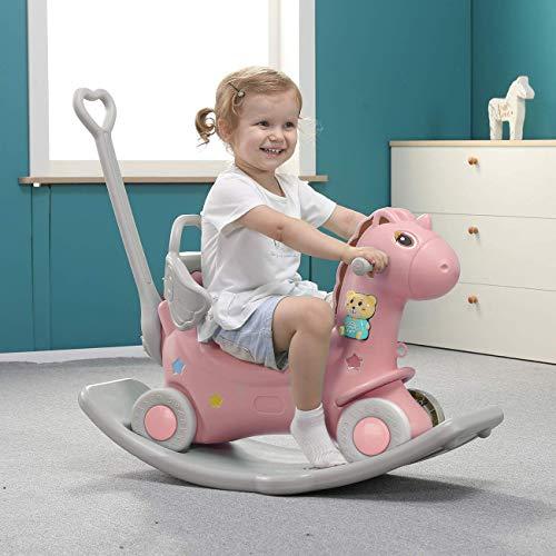 YYSDH Enfants Rocking Horse Accueil Deux-en-Un bébé avec l'utilisation Double Petit Trojans bébé Ans Toy Cadeau avec Train en Marche,Rose