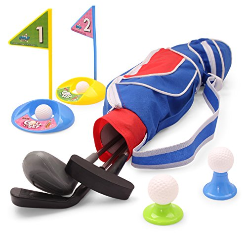Exercise N Play Deluxe Happy Kids/Toddler Golf Clubs Set Grow-to-PRO Golfer 15 Piece Set… (Blu-2)