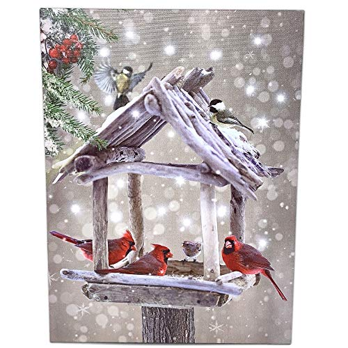 BANBERRY DESIGNS Cardinal Canvas Print - Lighted Wall Art with Cardinals Berries Rustic Bird Feeder- Snowy Winter Scene Artwork - Light Up Cardinal Pictures