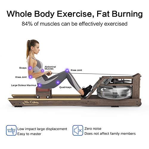 Mr. Captain Rowing Machine for Home Use,Water Resistance Vintage Oak Rower with Bluetooth Monitor