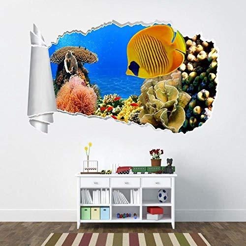 HQSM Pegatinas de pared Tropical fish coral 3d torn hole wall sticker decal art deco