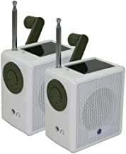 Ambient Weather WR-1059-2-KIT Compact Hand Crank Solar Powered AM/FM Weather Band Radio (2 Pack)