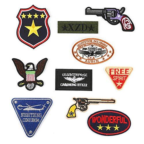 Patch Sticker,Parche de ropa Apliques DIY Coser o Planchar para Ropa Camiseta Jeans Sombrero Pantalon Bolsas, insignia de pistola de dibujos animados de 10 piezas