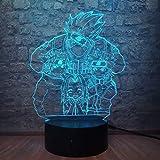 Naruto Acrílico Personaje de dibujos animados Naruto Kakashi Grupo 7 3D USB Led Lámpara de mesa Phantom 7 Color que cambia la decoración del dormitorio Luz de noche Regalo (Familia Naruto)
