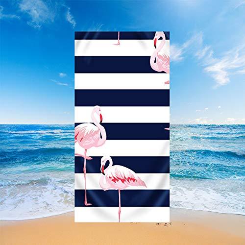 Fansu Toallas de Playa Microfibra Grandes, Tropical Estilo Toallas de Playa Compacto Ligera Blando Verano Manta de Playa para Viaje Playa Tomar el Sol Nadar o Baño (Azules Rayas,150x180cm)