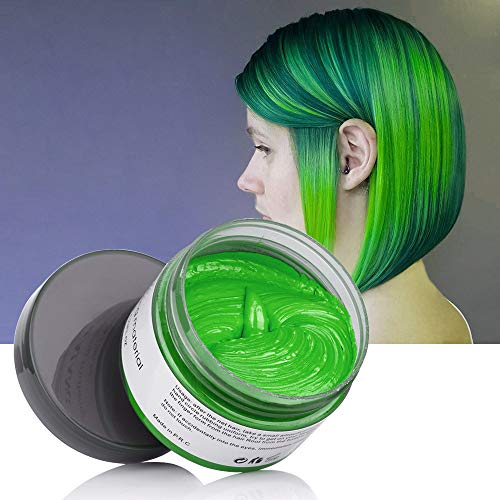 St Patricks Day Hair Color Wax Wash Out Hair Color Instant Hair Wax Temporary Hairstyle Cream 4.23 oz Cyan Green Hair Pomades Natural Hairstyle Wax for Men and Women (Cyan)