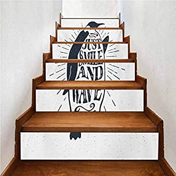 DIY Decorative Self-Adhesive Waterproof Vinyl Stair Sticker Quote Penguin Waving His Flipper and Just Smile and Wave Te for Walls Kitchen Stair Decals Home Decorations W39.3 x H7.08 Inch x6PCS