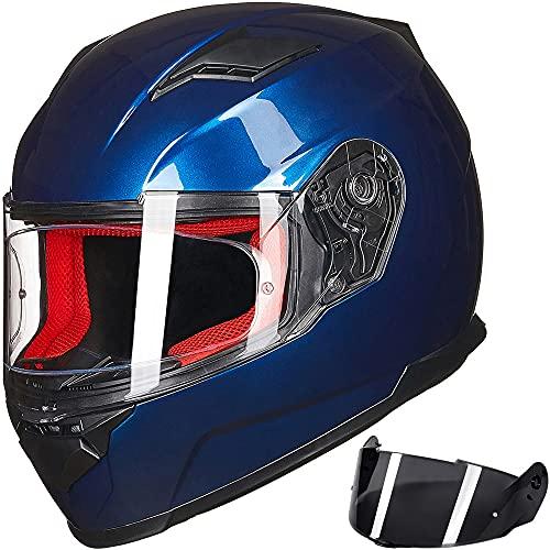 ILM Motorcycle Street Bike Full Face Helmet Anti-Fog Pinlock Shield Snowmobile Helmets DOT for Men Women (Blue, S)