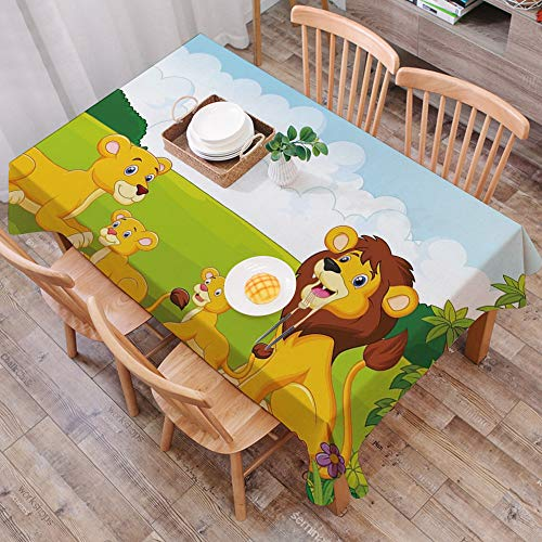 Tischdecke abwaschbar 140x200 cm,Kindergarten, Cartoon-Stil Löwenfamilie im Wald Afrika Savannah Safari Habitat Dekorativ, Grün Hell,Ölfeste Tischdecke, geeignet für die Dekoration von Küchen zu Hause