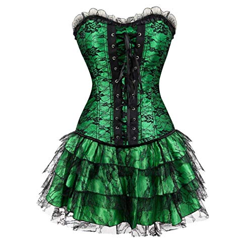 Adelina Women S Black Trim Ruffle Satin Halloween Dress Corset Lace Fashionable Mini Tutu Skirt Set voor Moulin Rouge Showgirl Clubwear
