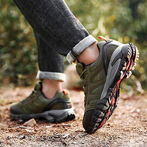 Zapatillas Trekking Hombres Calzado Mujer Senderismo Montaña Deportivas Trail Running Deporte Zapatos Antideslizante Ligeras Respirables Unisex Verde 44