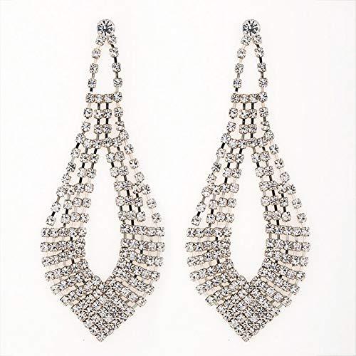 FGFDHJ Mujeres pequeños Accesorios Pendientes de decoración de Diamantes de imitación Pendientes Largos de Borla Pendiente de Gota