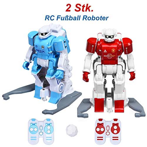 COSTWAY Fußballroboter mit Infrarot-Fernbedienung, Roboter Spielzeug für interaktives Fußballspiel, Spielzeugroboter Mehrspieler-Modus, Roboter-Fußball zum Dribbeln, Schießen, Passen, Kinderspielzeug