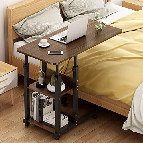 Mobiler Betttisch auf Rollen, Beistelltisch höhenverstellbar 68-85 cm Tischplatte neigbar, Bett-Beistelltisch for Krankenbett, Pflegebett, Laptoptisch (Color : Brown, Size : 80x40cm)