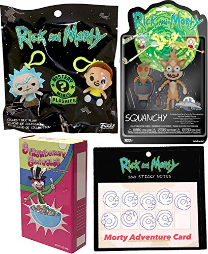 Tophat Jones Cat Squanchy Figure Rick & Morty Bundled with Intergalactic Fun Character Mystery Plushies Hanger + Exclusive Morty Sticky Notes pad & Smiggles Tin Galaxy Get Shwifty Pack 4 Items
