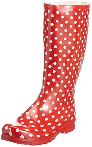 Playshoes Stivali di Gomma Naturale-Punti, Stivaletti Pioggia Donna, Rosso Rot 8, 40 EU