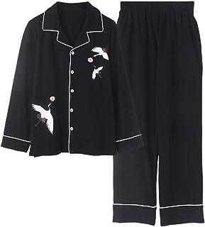 CIDCIJN Pijama para Mujer,Moda Pijamas De Algodáo Feminino Bonito Pijamas Meninas Manga Longa Tops + Caláas Com Bolsos Polka Dot Casual Lounge Wear,Black,M