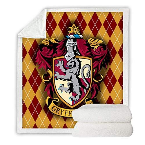 LZBBJ Reisen Wurfdecke für Bett und Couch - Soft Cozy Sherpa Fleece Quilt-Decke mit Digital-Gryffindor-Muster gedruckt - Geeignet für Kinder und Erwachsene,Pattern1,130×150cm