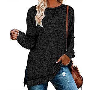 Women's Casual Long Sleeve Loose Fall Pullover Side Split Tunic Tops