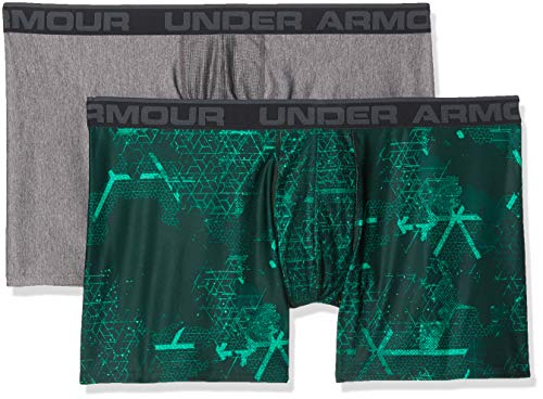 Under Armour Herren O-Series 6in Boxerjock 2pk Novelty Unterhose, Green Malachite/Charcoal Light Heather (349), LG