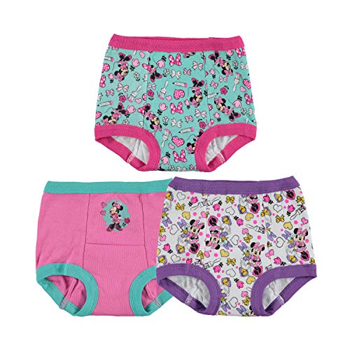 Disney Girls' Toddler Minnie Mouse 3pk Potty Training Pant, Assorted, 2T