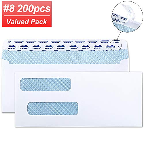 "ValBox 200 Count #8 Double Window Envelopes 3 5/8"" x 8 11/16"" Flip and Seal Double Window Security Check Envelopes- Security Tint Pattern Designed for Home Office Secure Mailing"