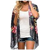 LuckyGirls Rebeca con flecos gasa de la camisa de la playa de la protección solar de las señoras, ropa de abrigo cómoda de la playa del verano