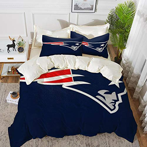 Tuoye Duvet Cover Set, Bed Sheets Bedding,Rugby team New England Patriots Solid color background Artistic creative theme,1 Duvet Cover Set 135 * 200+2 pillowcase 50x80cm