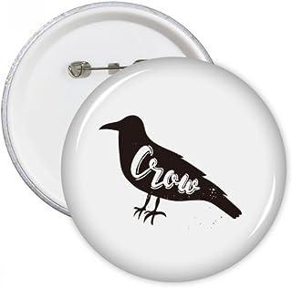 Corbeau noir et blanc animal broches rondes badge Button Vêtements Décoration Cadeau 5pcs XXL