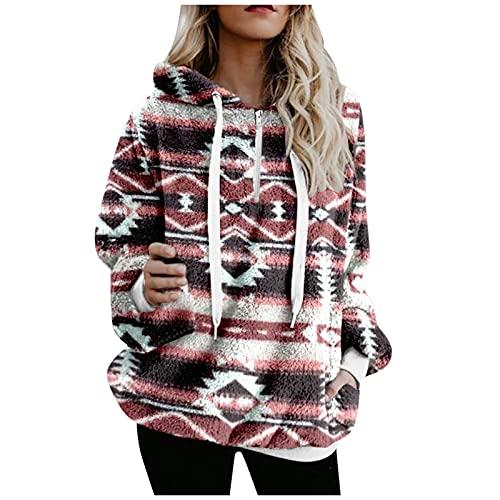 Alueeu Mujer Sudadera con Capucha Caliente y Esponjoso Tops Otoño-Invierno Chaqueta Suéter Abrigo Jersey Hoodie Outwear Cuello Redondo Informal Pullover Baratas