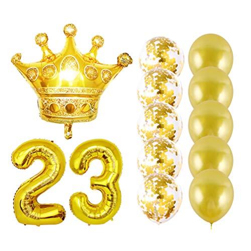 Toyvian Globos Corona 23 cumpleaños Globos Confeti látex Papel de Aluminio 23 número Globos Foto Prop 23 decoración de Fiesta de Aniversario Suministros de Fiesta para cumpleaños Aniversario 13pcs