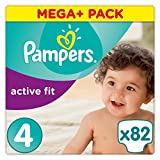 Pampers Active Fit Couches Taille 4 (8–16 kg), Mega Plus, 1er Pack (1 x 82 pièces)