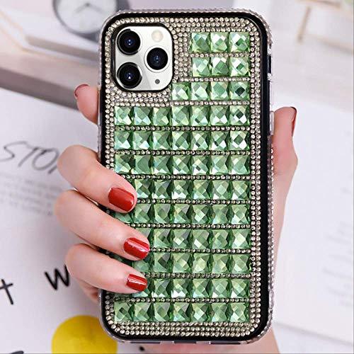 Estuche de Lujo para teléfono con Diamantes para iPhone 12 12Mini 11 Pro MAX SE X XR XS 7 8 Plus Estuches rígidos de Piedras Preciosas Brillantes Simples Bling Cover para iPhone XS Verde