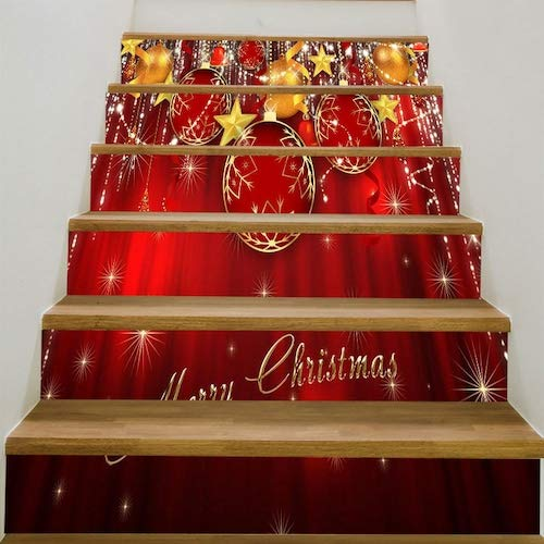 WZhen Christmas Ornaments Balls Pattern Stair Stickers - Deep Red 6Pcs:39 * 7 Inch(No Frame)