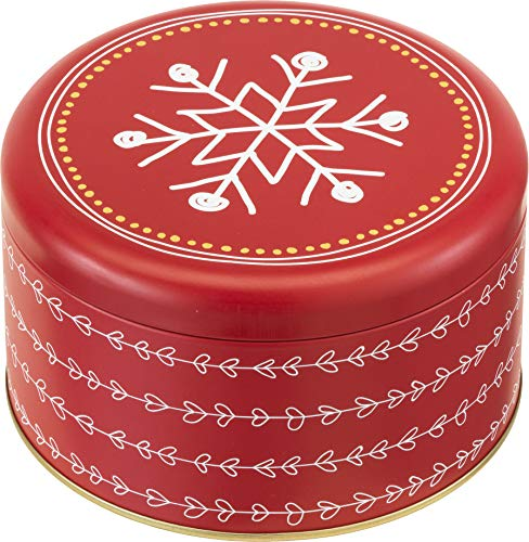 Weihnachten - Gebäckdose/Runddose SCHNEEFLOCKE (Rot - Weiß - Gold / 14 x 8 cm) TOP QUALITÄT
