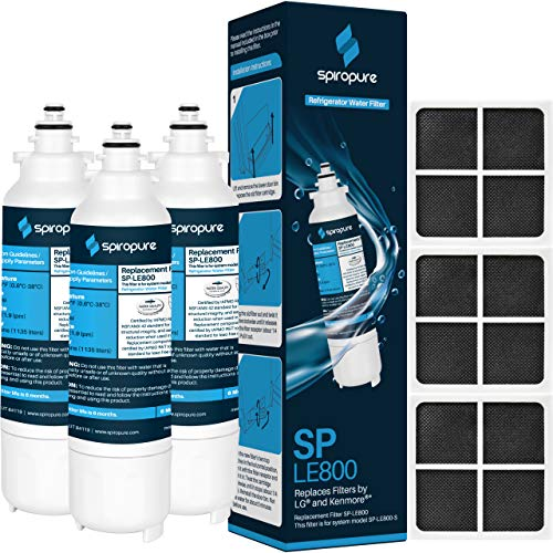 SpiroPure Replacement for LT800P & LT120F, 9490, ADQ73613401S, R-9490, FL-RF20, AQF-LT800P, ADQ73613402, R9490, 46-9490, WD-LT800P, WS620A, AQF-LT800P-P, EP-LT800P, RWF1160, CF14 (6 Pack; 3/ea.)