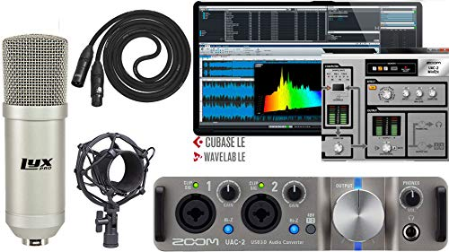 Zoom UAC-2 2x2 USB 3.0 Audio Interface with Steinberg Cubase LE Production Software with Condenser Microphone with XLR Cable and Shockmount