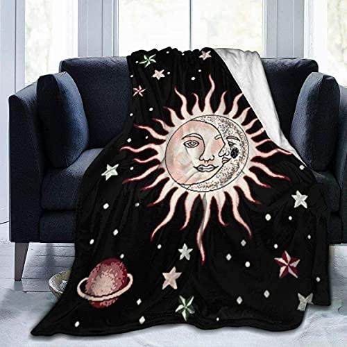 Manta de franela con diseño de sol, luna y estrella sobre forro polar de Arearug, color negro, microfibra de felpa, colcha, novedad, ropa de cama, sofá, aire acondicionado suave