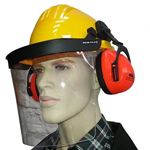 Profi Helm mit Gesichtsschutz und Gehörschutz Forsthelm Schutzhelm Bauhelm gelb