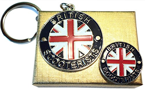 British SCOOTERIST Union Flagge Scooter Badge & Schlüsselring Mod Metall Emaille Set