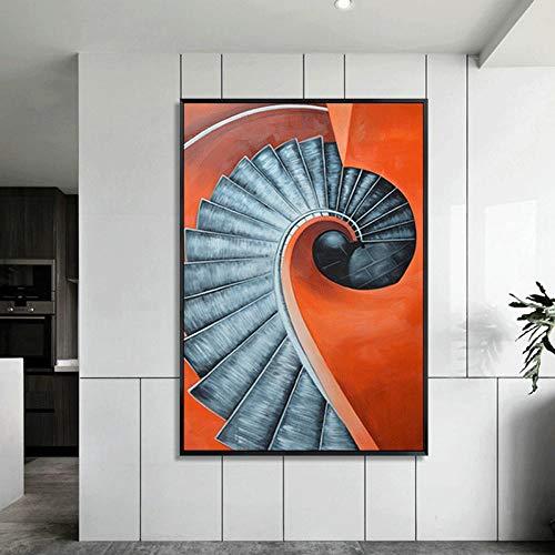 NOBRAND Espacio arquitectónico Abstracto Minimalista Moderno Pintura Decorativa Arte de la Pared Cuadro Escalera Pintura Lienzo Painting 50cm x75cm No Frame