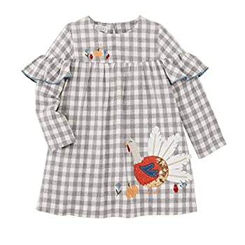 Mud Pie Baby Girls  Turkey Dress Gray 2T